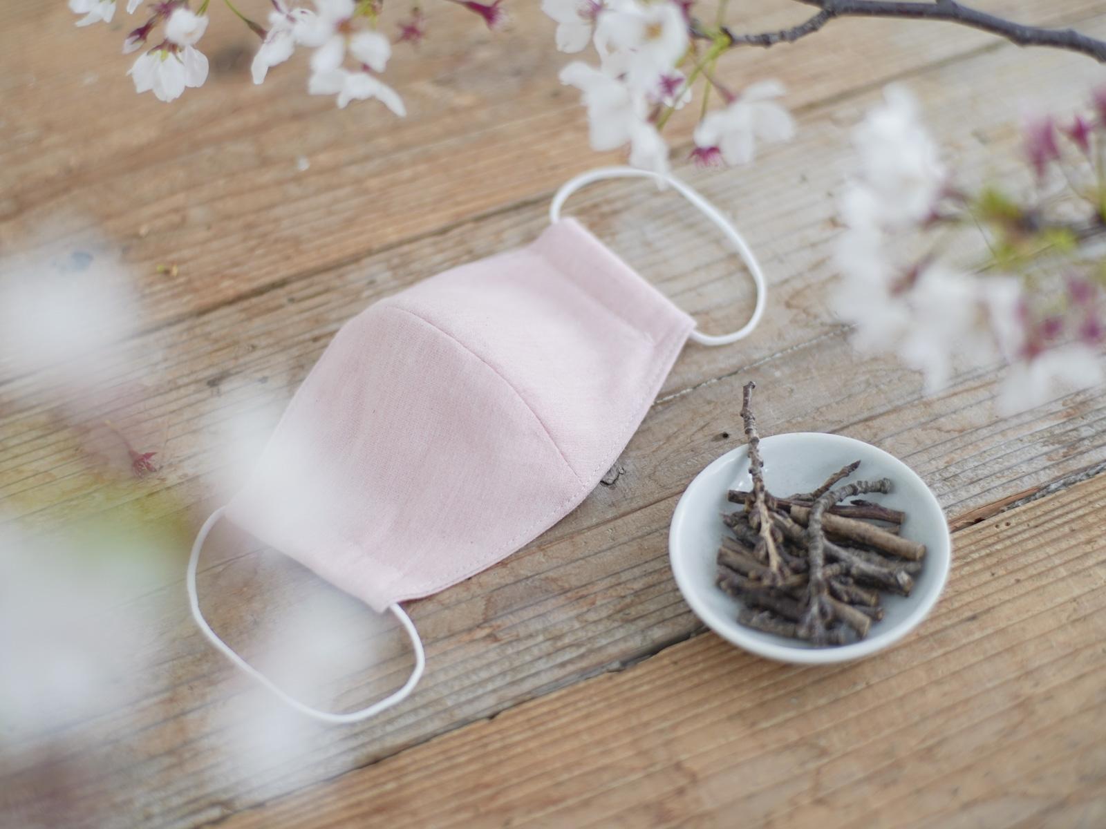 桜染めマスク、草木染めマスク