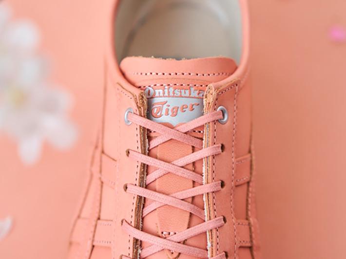 「オニツカタイガー」ブランドから桜染めレザーのシューズを発売